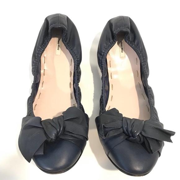 73b40e83348 MIU MIU Prada Ballet Flats Blue Bow Leather. M 5b5fd5319fe486ff760599e8